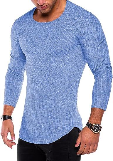 Hombres Manga Larga Rayas Camisas Casual Color Puro Mezcla de Algodón Camiseta Cuello Redondo Ropa Deportiva Corriendo Yoga Trabajando Calle Tops 6 Colores M-3XL: Amazon.es: Ropa y accesorios