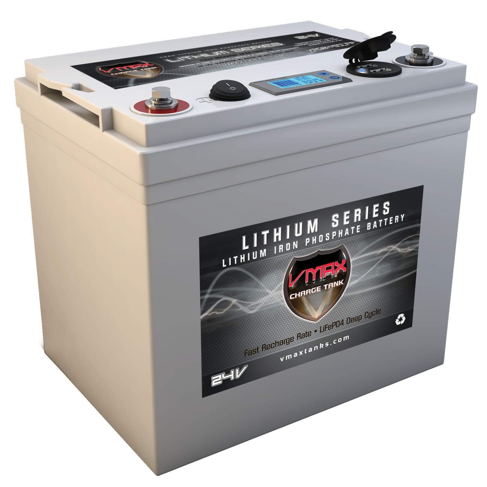 VMAX VPG24C-50LFP for 24 Volt Battery for DC Power Supply 24V 50Ah LiFePo4 Battery + Charger: Lithium-Iron Phosphate Battery w/BMS, USB Outputs, LCD Display (24V 50Ah LiFePo4, Weighs 21lbs) by VMAXTANKS (Image #2)