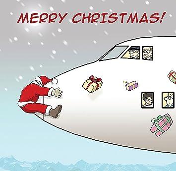 Frohe Weihnachten Flugzeug.Twizler Weihnachtskarte Mit Weihnachtsmann Flugzeug Und