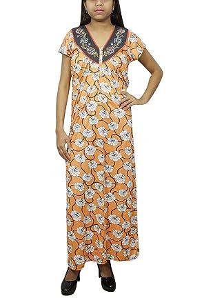Indiatrendzs Women s Hosiery Maxi Dress Floral Print Yellow Nighty XL   Amazon.in  Clothing   Accessories ce57ededf