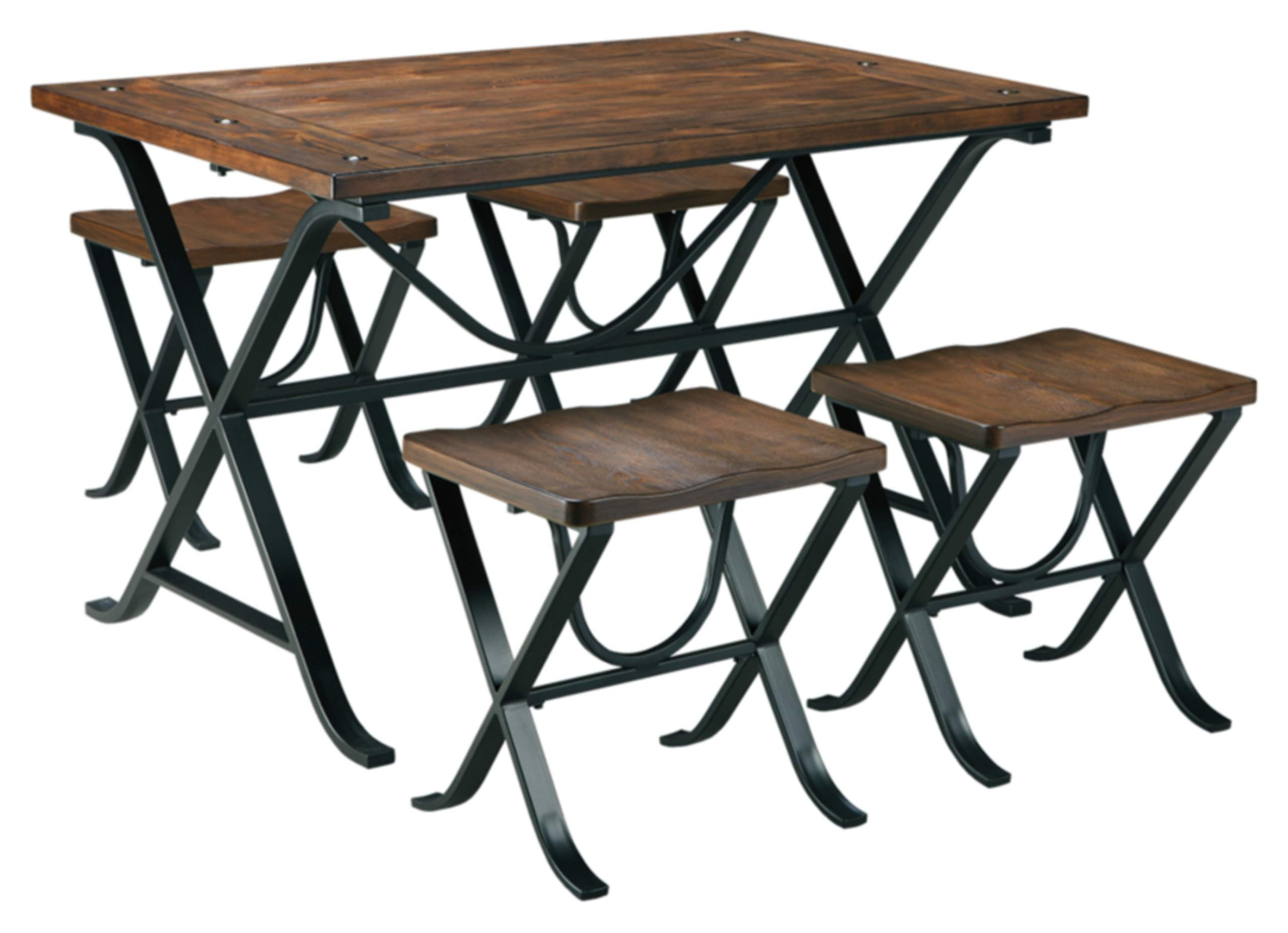 Ashley Furniture Signature Design - Freimore Dining Room Table and Stools - Set of 5 - Medium Brown Wood Top and Black Metal Legs by Signature Design by Ashley
