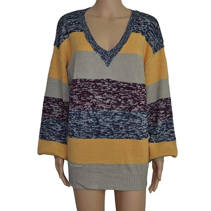 Geilisungren Tallas Grandes para Mujer Camiseta para Mujer Tops Camisa de Punto con Rayas Blusa con Cuello en V para Damas: Amazon.es: Ropa y accesorios
