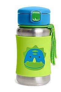 Skip Hop Zoo Stainless Steel Straw Bottle - Dino, 9I673110