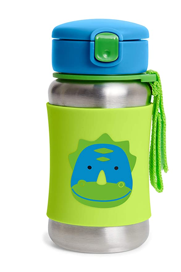 Skip Hop Toddler Sippy Cup Transition Bottle Stainless Steel Bottle With Straw Dino Baby Amazon Com
