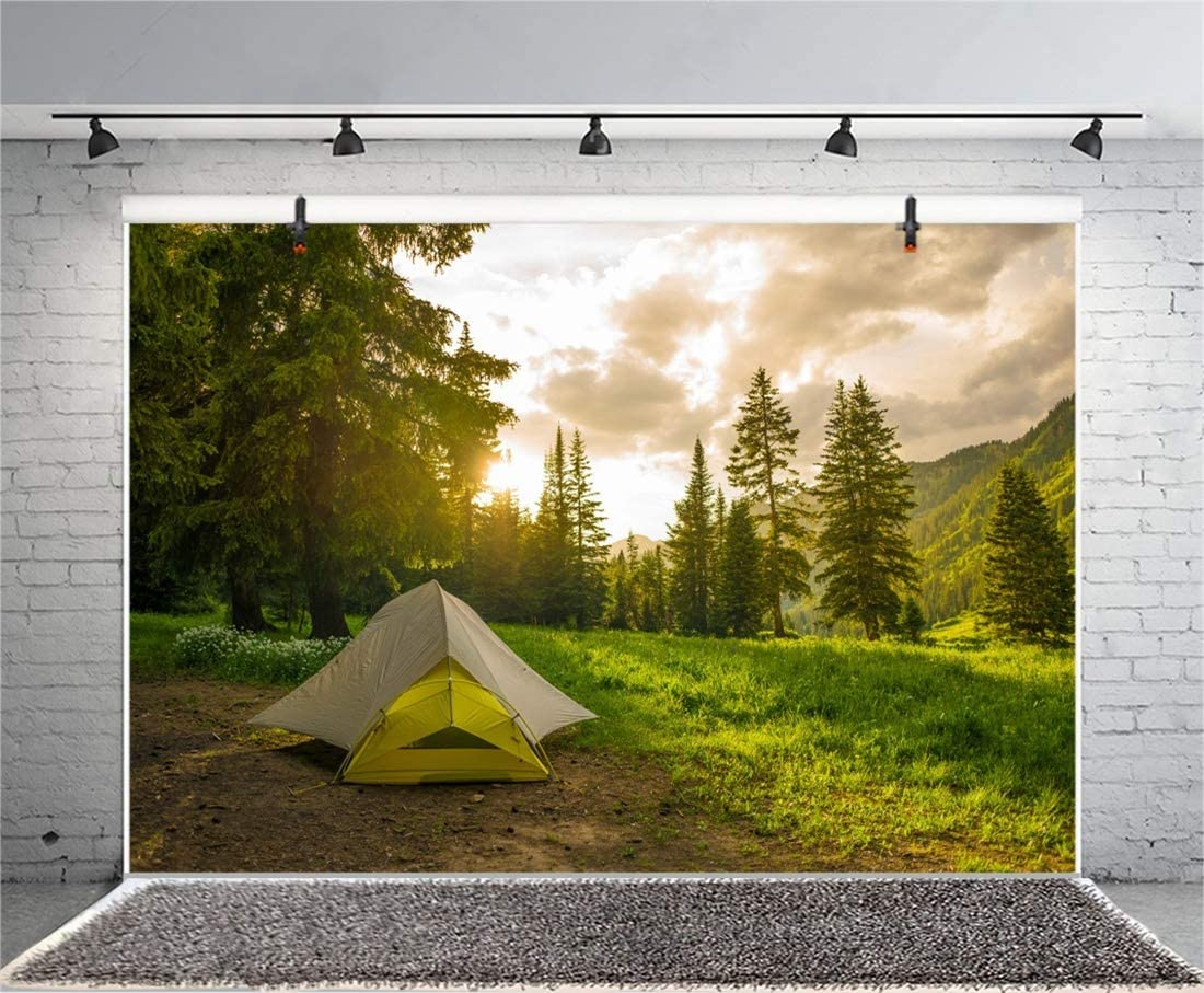 Yeele 6x4ft Photography Background Pine Forest Camping Sunrise Outdoor Travel Scout Mountains Landscape Grassland Camp Tents Holiday Vacation Shoot Props Photo Backdrop Wallpaper