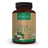 POMONA WELLNESS Organic Greens Superfood Supplement, Full of Vitamins & Minerals, Fruits & Vegetables Vitamin, Gluten-free, Non-GMO, Vegan, Bottle of 120 Tablets