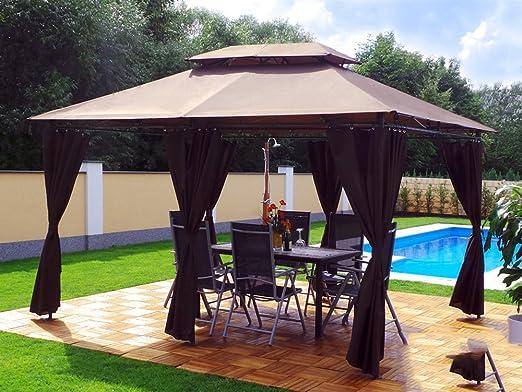 Groten Luxus Cenador, 3 x 4 m, impermeable, poliéster, con 6 ...