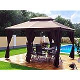 Garten Pavillon 3x4m, Groten Luxus Hochwertiges Wasserdicht Polyester Gartenzelt mit 6 Vorhängen für Party und Oktoberfest Farbwahl (Braun)