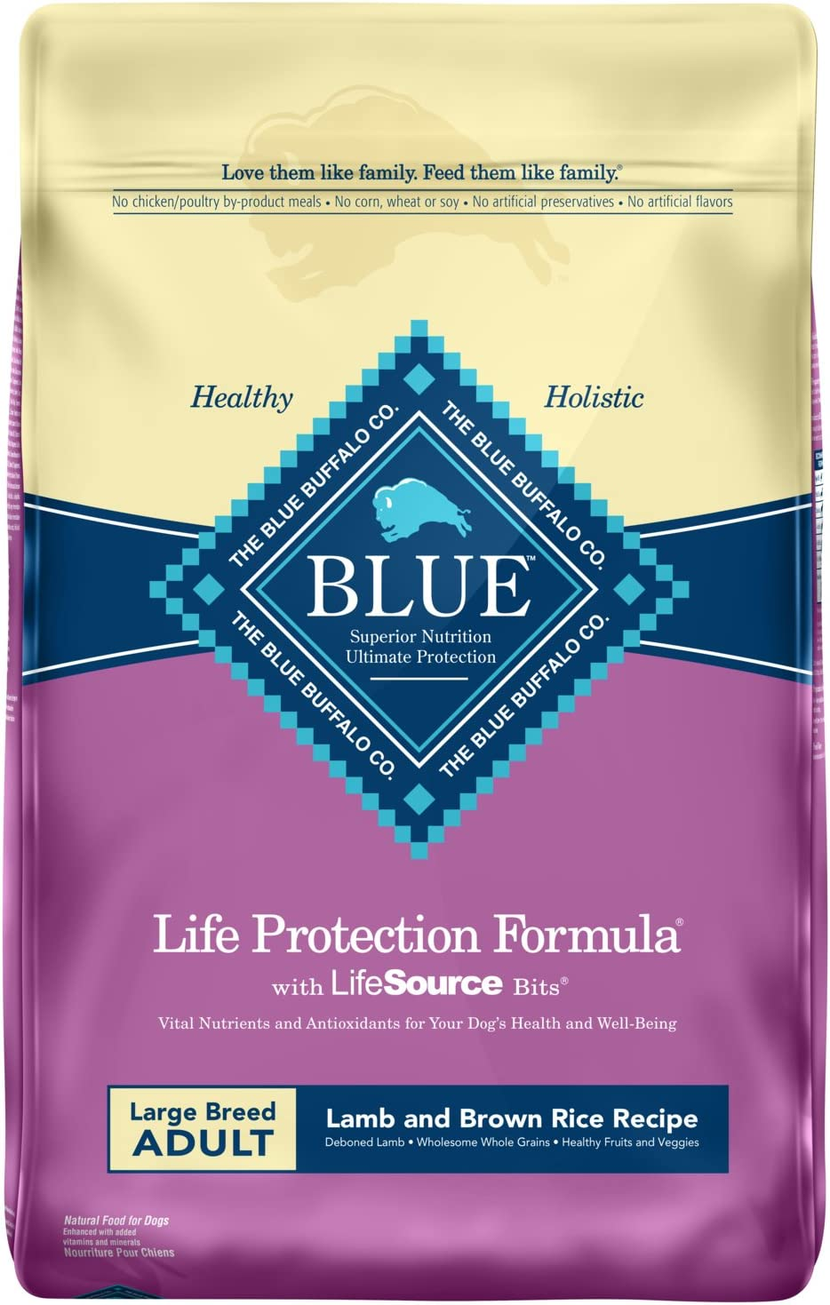 Blue Buffalo Life Protection Formula Large Breed Dog Food – Natural Dry Dog Food for Adult Dogs – Lamb and Brown Rice – 30 lb. Bag