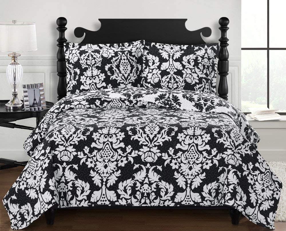 Annabel Luxury Microfiber Printed Coverlet Over-Sized Bedspread Set with Shams