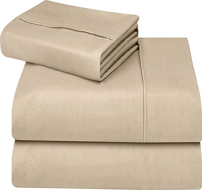 Utopia Bedding Soft Brushed Microfiber Wrinkle Fade and Stain Resistant 3-Piece Twin Bed Sheet Set - Beige