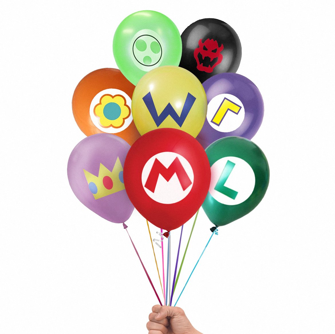 Super Mario Brothers Emblem 24 Count Party Balloon Pack - Large 12'' Latex Balloons