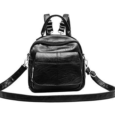 Women Mini Backpack PU Leather Crossbody Bag Pure Teenage Girl Shoulder Bag   Amazon.in  Shoes   Handbags 24560af490a6e