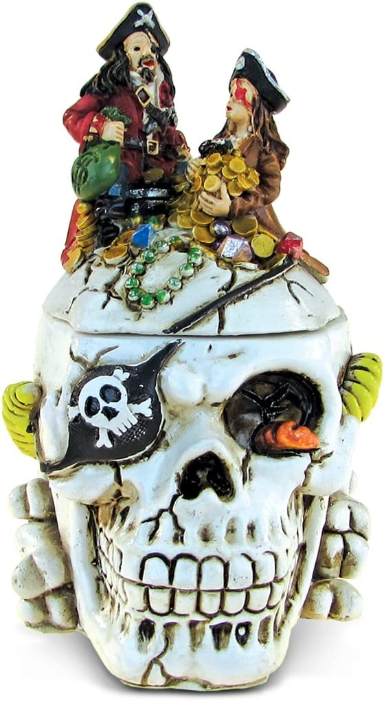 Puzzled Caribbean Pirate Skull Jewelry Box, Intricate & Meticulous Head Sculpture Figurine for Collectible Trinket Accessory Storage Organizer Table Accent - Nautical Themed Home Bar Décor - 4.8 Inch