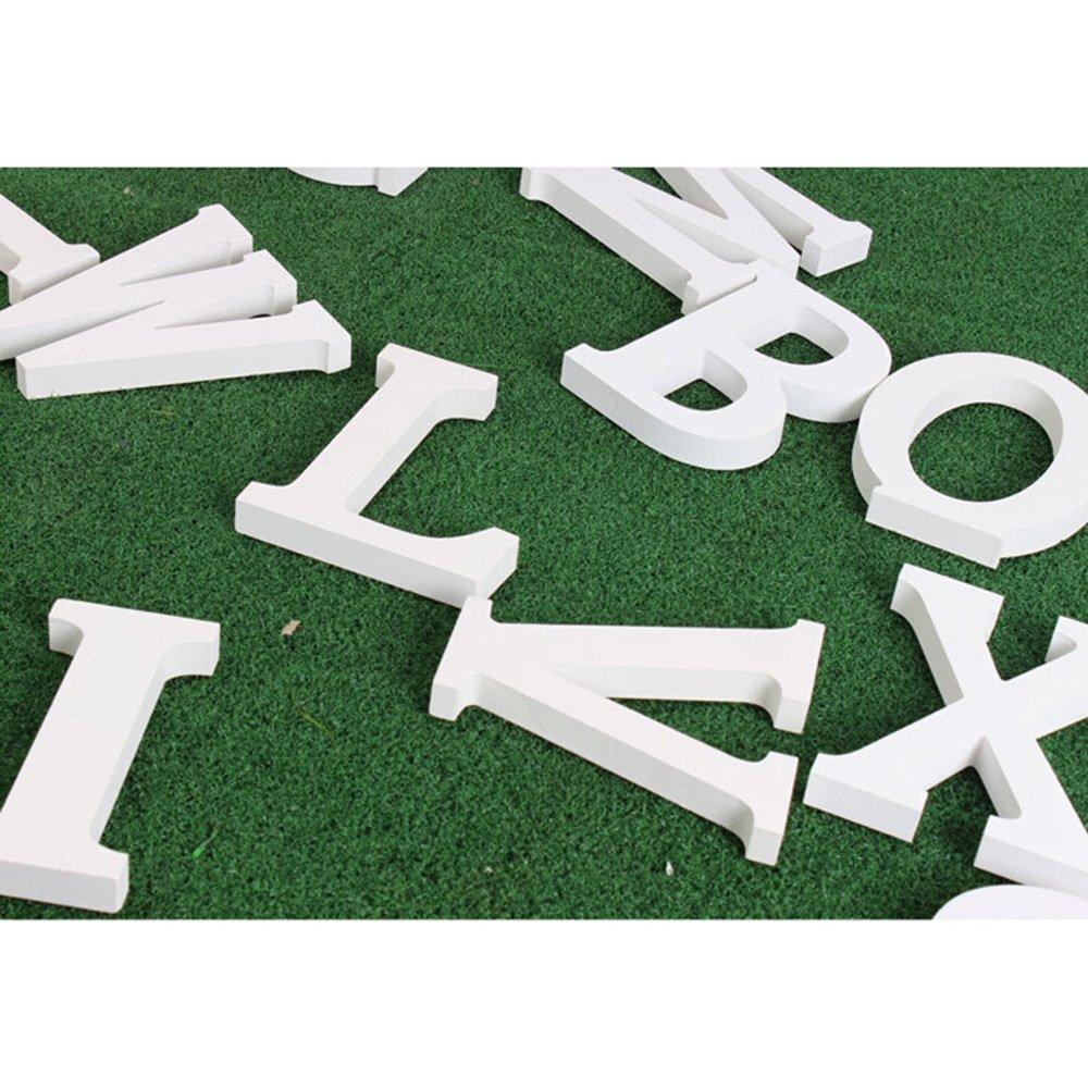 color blanco Letra del alfabeto en madera para decorar Small colgar en la pared, para boda, fiesta, casa, 无