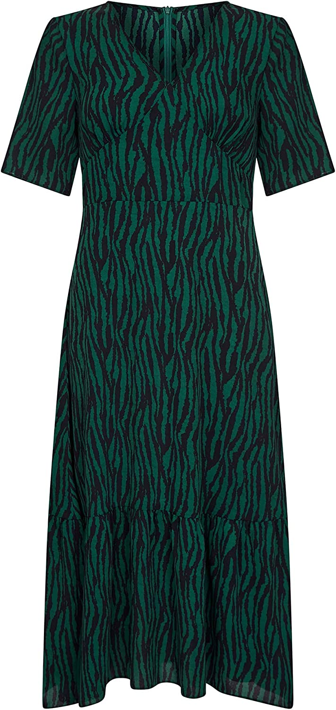 Green Zebra Stripe Midi Dress Green