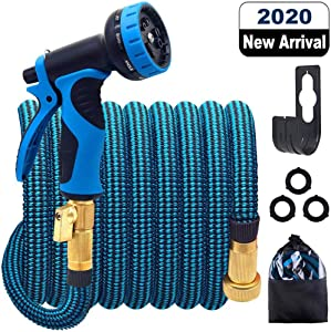 HULOSAN Expandable Garden Hose with 9 Function Nozzle, Leakproof Lightweight Expanding Garden Water Hose with Solid Brass Fittings, Extra Strength 3750D Durable Gardening Flexible Hose Pipe(25ft+5ft)