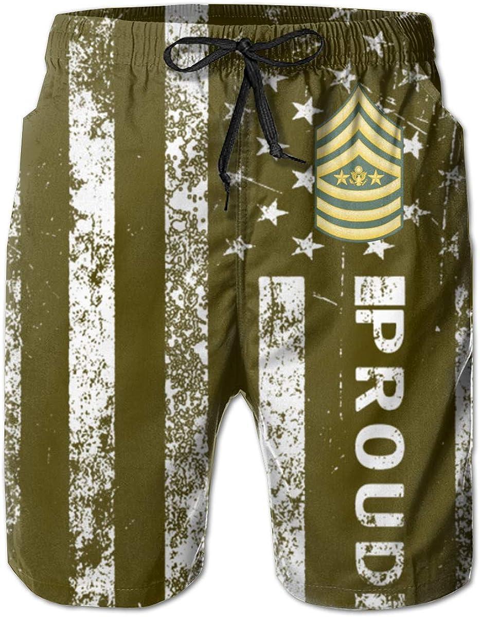 HANINPZ US Army Sergeant Major Mens Swim Trunks Beach Short Board Shorts