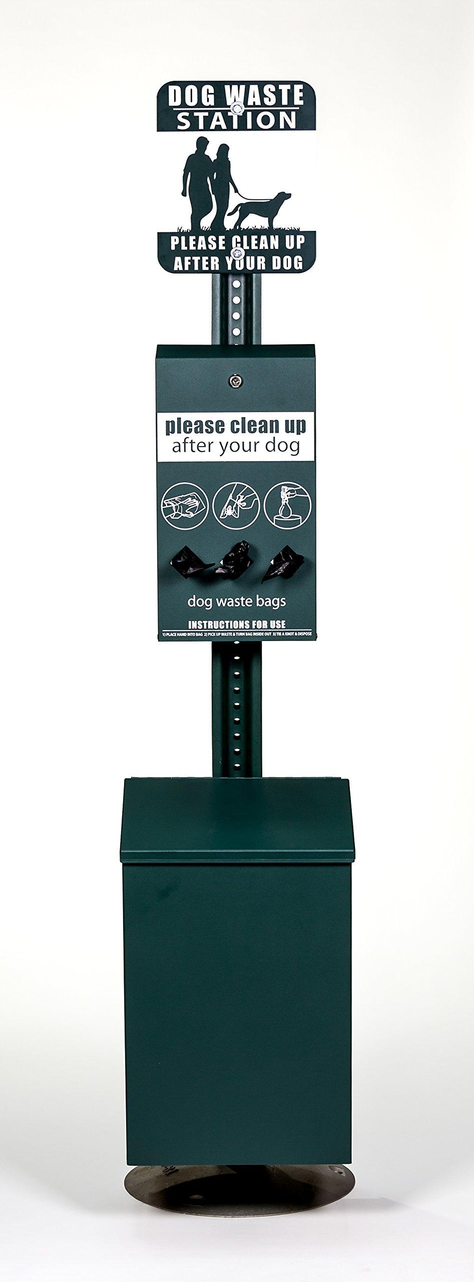 Dog Waste Station - Everything Included - FREE 400 waste bags and 50 can liners - Roll Bag System