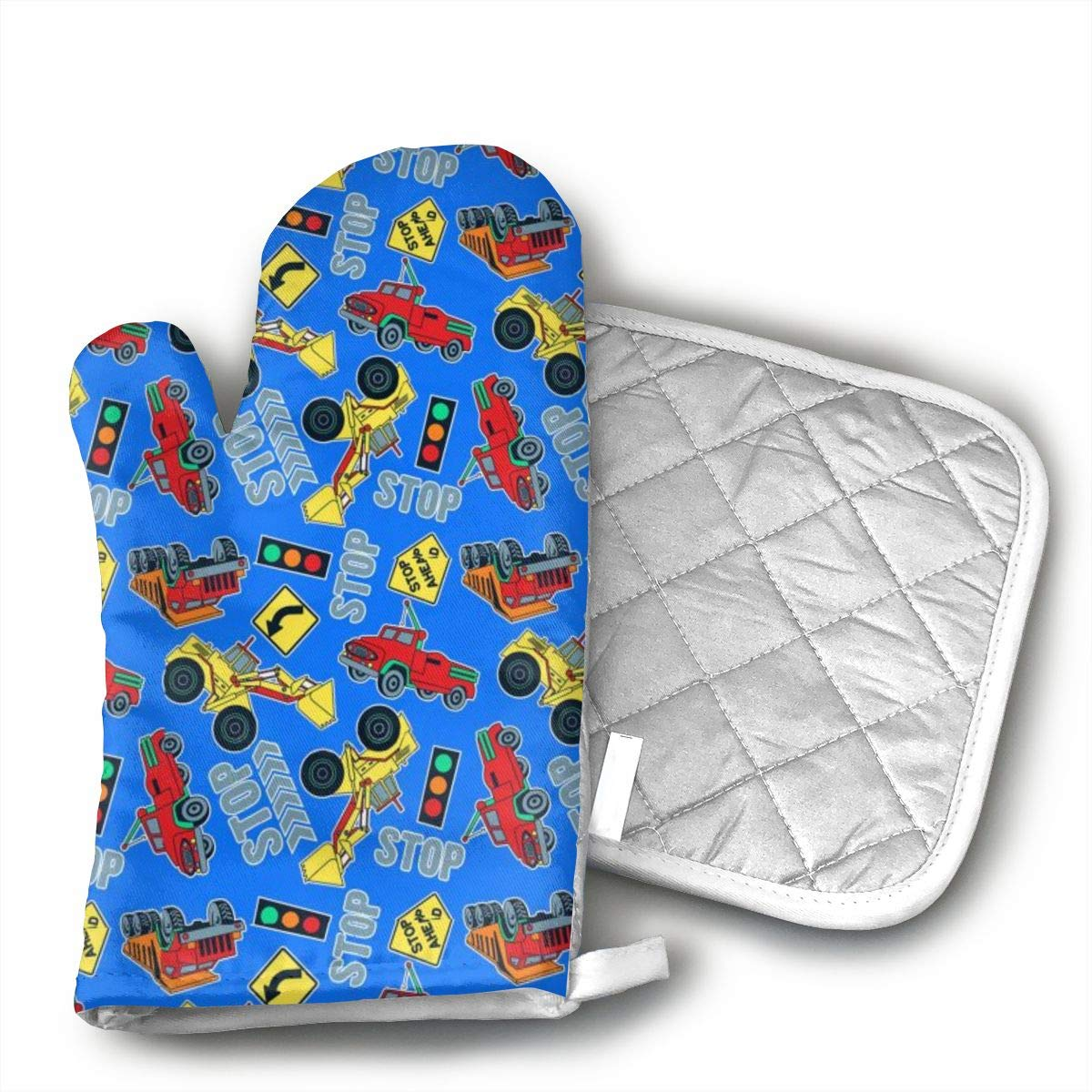Trucks Tractors Blue Oven Mitts & Heat Resistant Pot Holder - with Polyester Cotton Non-Slip Grip, Best Used As Baking, Grilling, BBQ, Cooking, Kitchen Or Oven Gloves