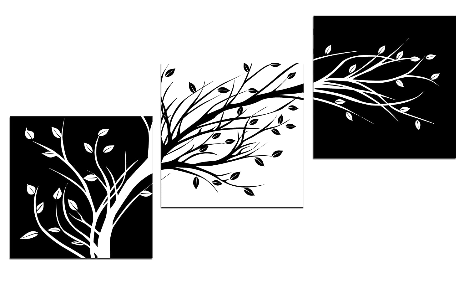 Wieco art leaves modern 3 panels flowers artwork giclee canvas prints black and white abstract floral trees pictures paintings on canvas wall art for living
