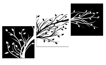 Wieco Art Leaves Modern 3 Panels Flowers Artwork Giclee Canvas Prints Black And White Abstract Floral Trees Pictures Paintings On Canvas Wall Art For