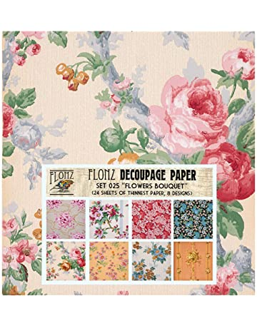 Flowers in Pot Rice Paper for Decoupage Scrapbook Craft Sheet