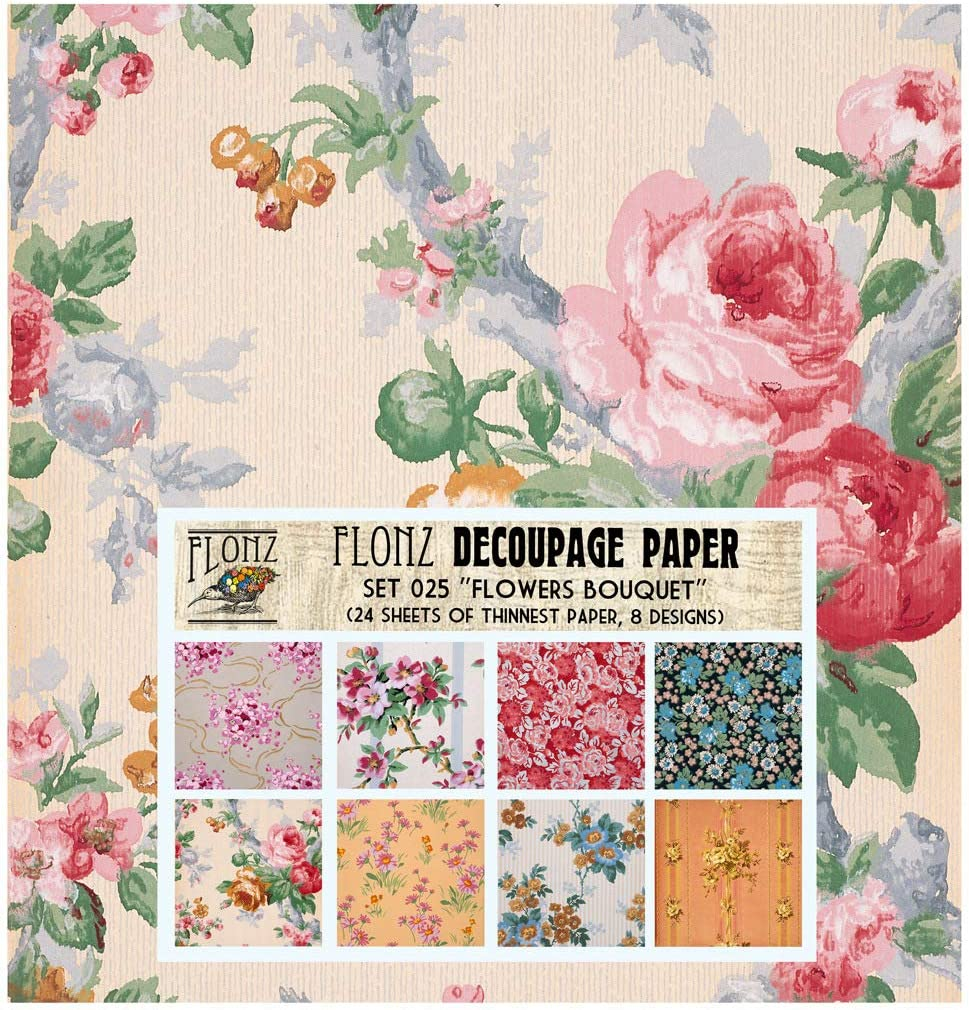 Pastel Floral Patterns FLONZ Vintage Styled Paper for Decoupage Decoupage Paper Pack 24 Sheets 6x6 Craft and Scrapbooking