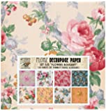 """Decoupage Paper Pack (24 Sheets 6""""x6"""") Flower Bouquet FLONZ Vintage Styled Paper for Decoupage and Craft"""