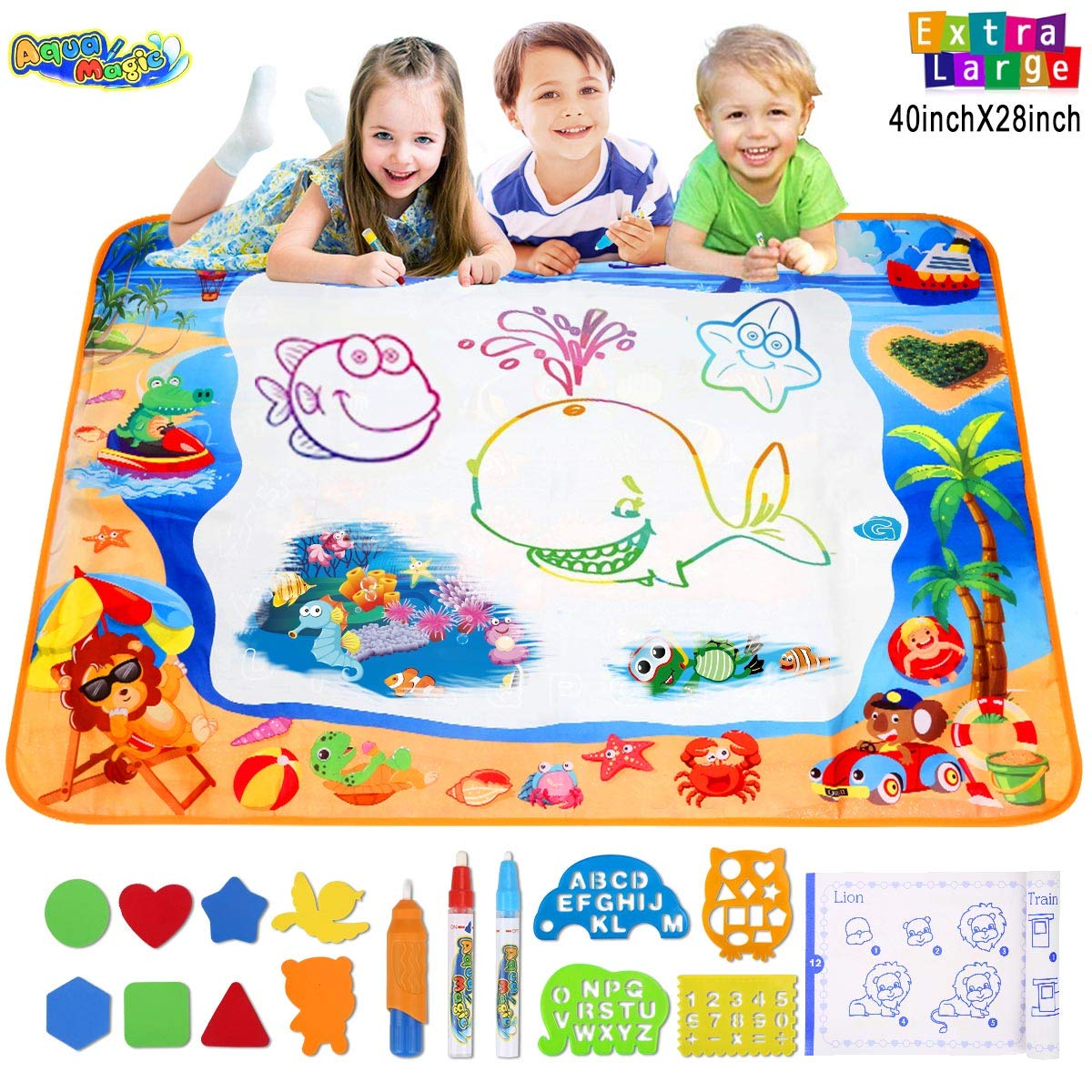 Hommate Water Doodle Mats Drawing Mat Multicolor Large Size 39.3 x 27.6 Inch Sea World Educational Learning Birthday Toys Gifts for 2 3 4 Years Old Girls Boys Tolddlers Kids (Multicolor)