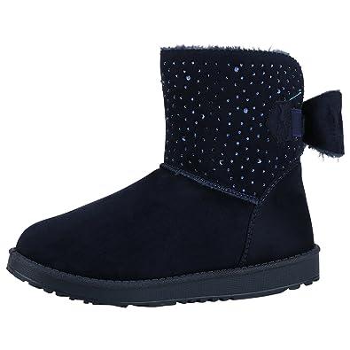 9ac46060399819 napoli-fashion Damen Stiefeletten Schlupfstiefel Warm Gefütterte Stiefel  Strass Winter Boots Winterschuhe Wildleder Optik Schuhe
