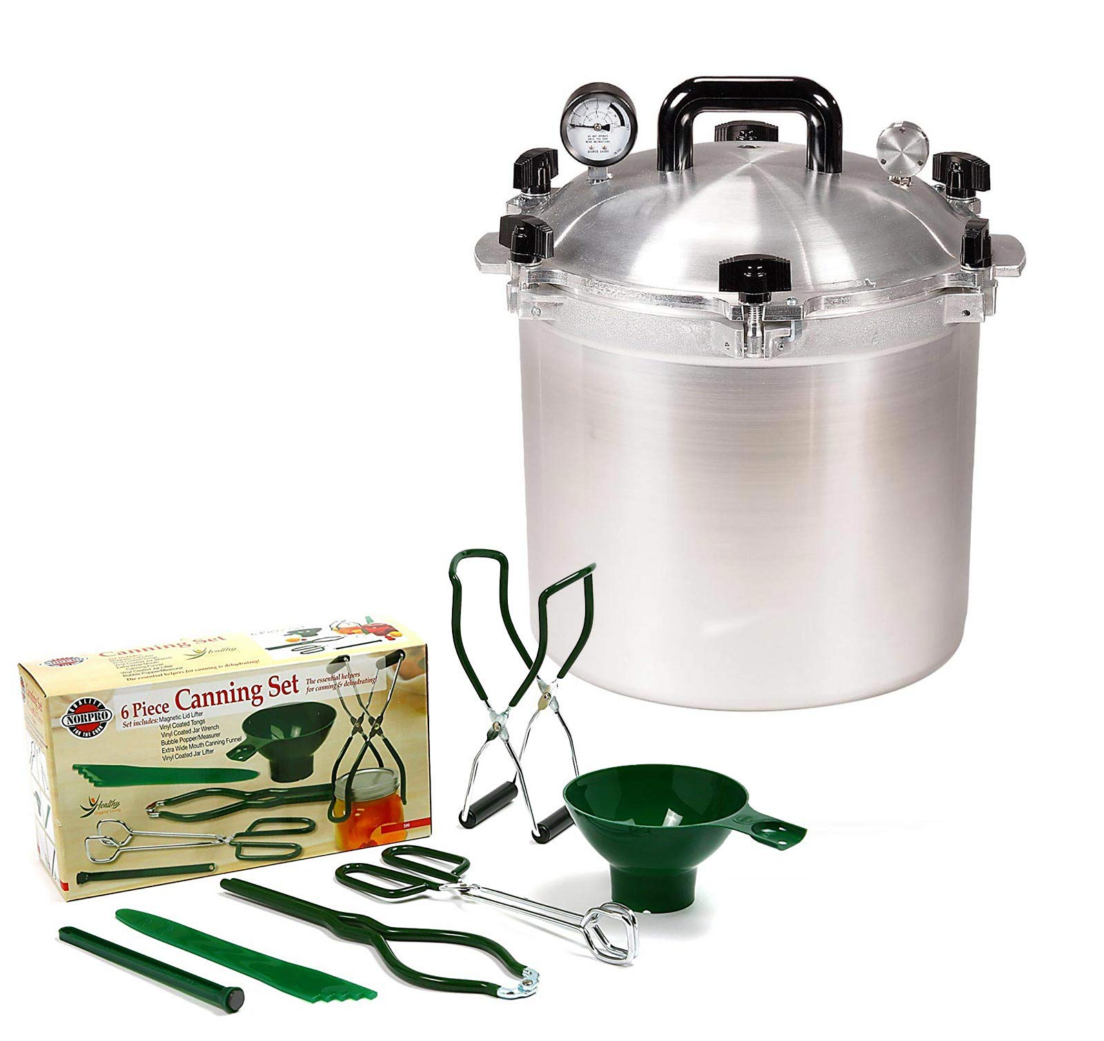All American 21.5 QT Pressure Cooker Bundle with 2 Racks and Norpro Canning Essentials 6 Piece Box Set by All American