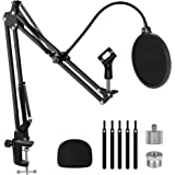 """InnoGear Microphone Stand, Adjustable Mic Stand Set for Blue Yeti Nano Suspension Boom Scissor Arm Stand with 5/8"""" to 3/8"""" Sc"""
