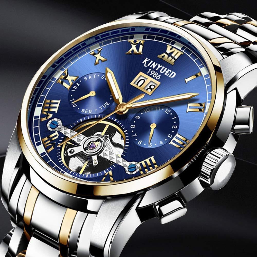 Herrklocka mekanisk klocka för män multifunktion automatisk armbandsur lätt 30 m vattentät affärsmiljö 01blue-free