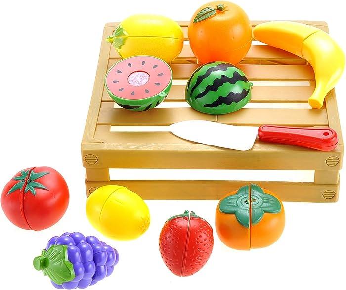 PowerTRC Kitchen Cutting Fruits Crate Pretend Food Playset