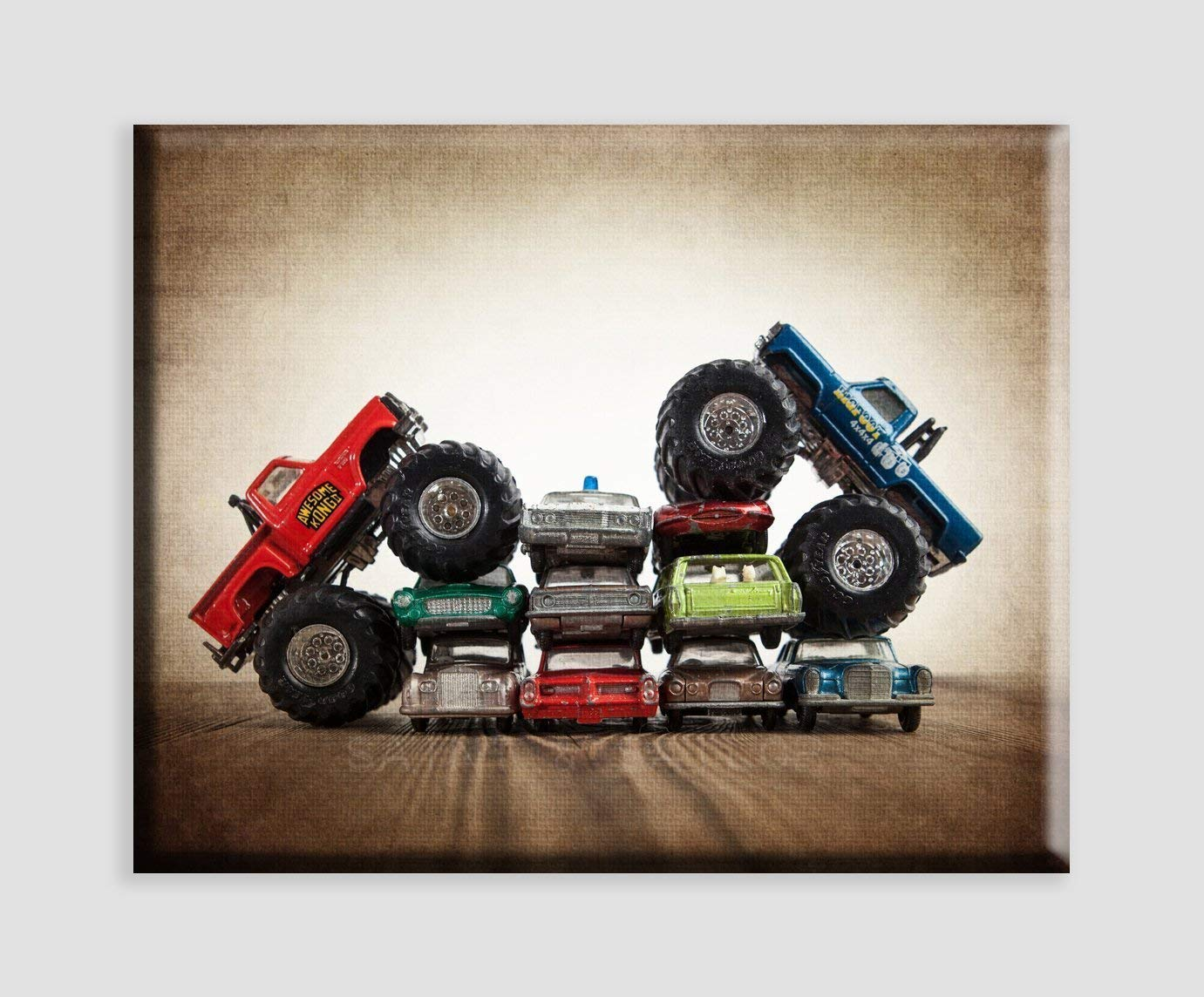 Vintage Monster Truck Art on Canvas''Bigfoot vs. Awesome Kong Car Crush'', Boys room Wall art, Photo Decor, Monster truck room, Nursery decor, Kids Room Wall Art.