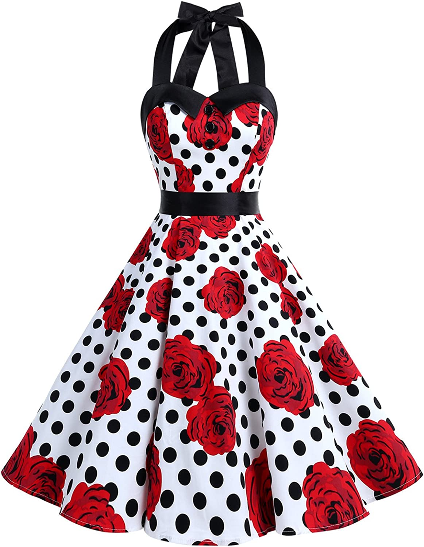 TALLA M. Dressystar Vestidos Corto Cuello Halter Estampado Flores y Lunares Vintage Retro Fiesta 50s 60s Rockabilly Mujer Lemon