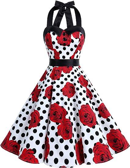 TALLA M. Dressystar Vestidos Corto Cuello Halter Estampado Flores y Lunares Vintage Retro Fiesta 50s 60s Rockabilly Mujer Black Rose