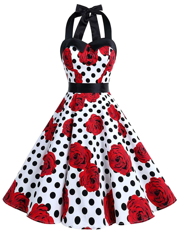 TALLA XXL. Dressystar Vestidos Corto Cuello Halter Estampado Flores y Lunares Vintage Retro Fiesta 50s 60s Rockabilly Mujer Skull XXL