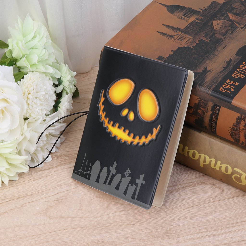 SimpleLif 3D Halloween Passport Holder Organizer Travel Card Case Cover,Wallet,14x10cm
