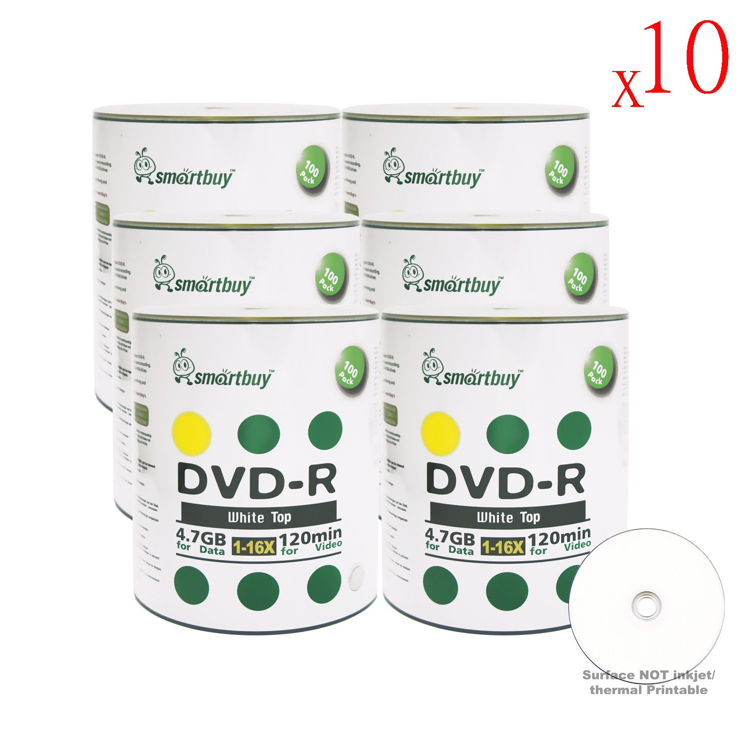 Smartbuy 4.7gb/120min 16x DVD-R White Top Blank Data Video Recordable Media Disc (6000-Disc)