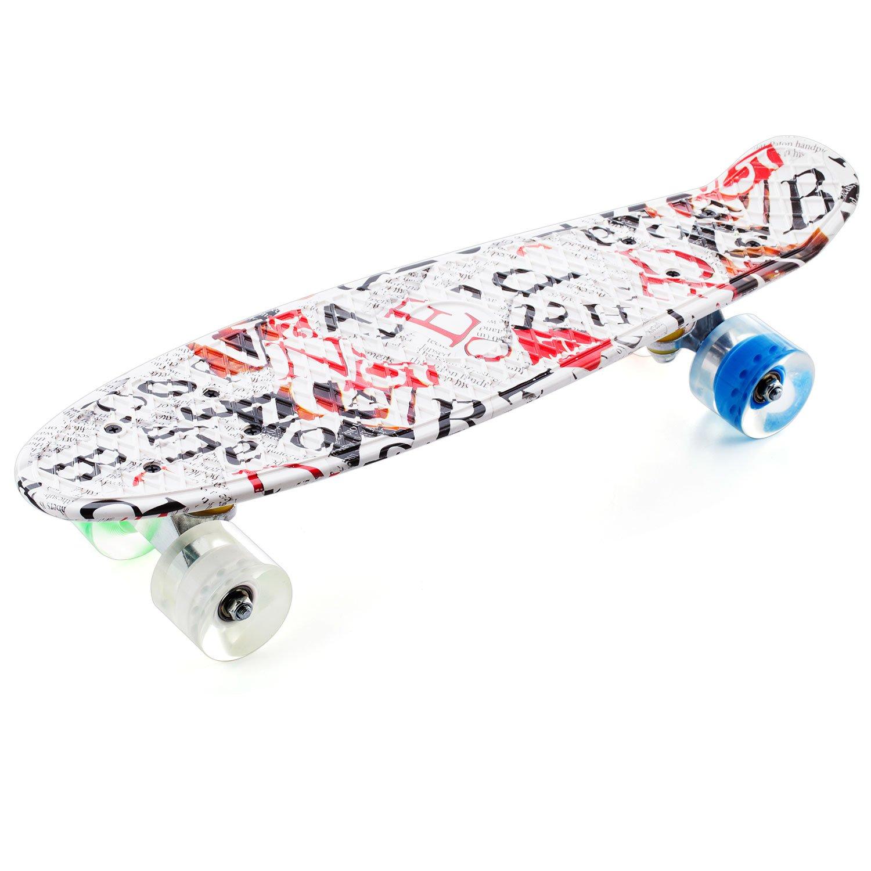CCTRO 22'' Complete Skateboards, Cruiser Skateboard Mini Banana Board for Kids Boys Youths Beginners, 220 Ibs