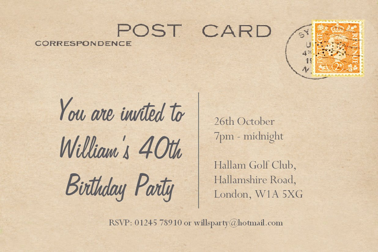 30 BIRTHDAY INVITATIONS Personalised for You. 'Vintage Postcard' Invites for 18th 21st 30th 40th 50th 60th 70th... Post Card Birthday Invitations. Adult Party Invites with Free Envelopes. The Save the Date People Party Invitation