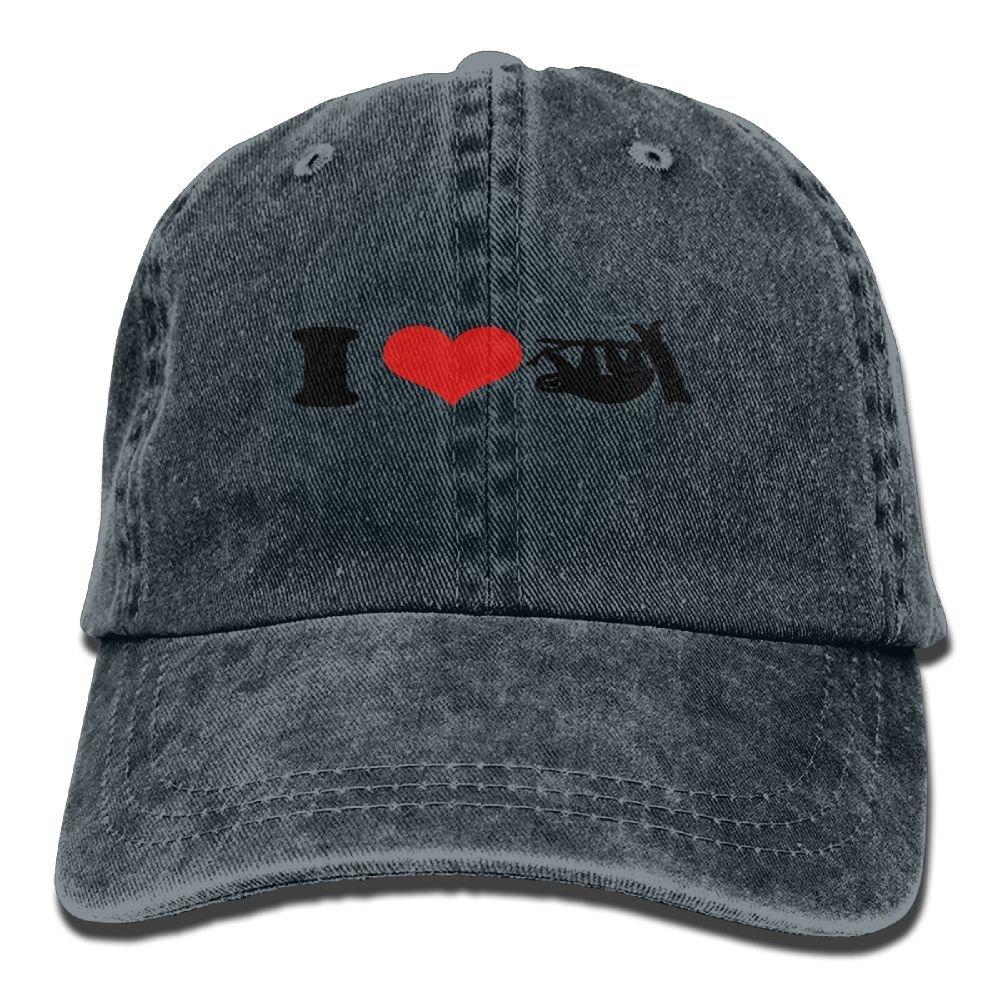 CUTEDWARF I Love Sloth Denim Hat Baseball Caps Adjustable Plain Cap