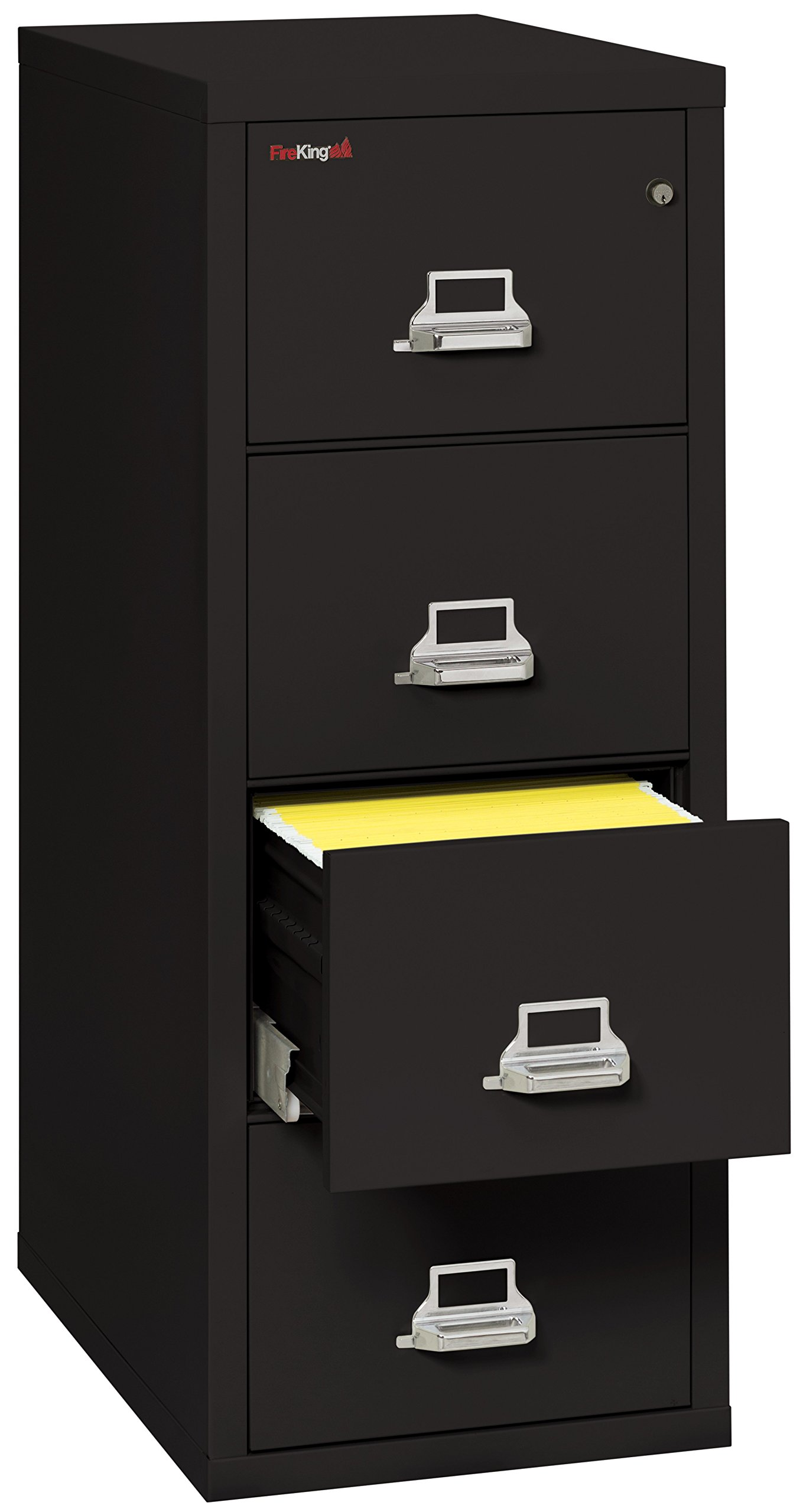 Black 1 hour Fire Impact rated Vertical cabinet 4 Drawer Legal 31 1/2 depth Made in USA by Fire King Security Group (Image #1)