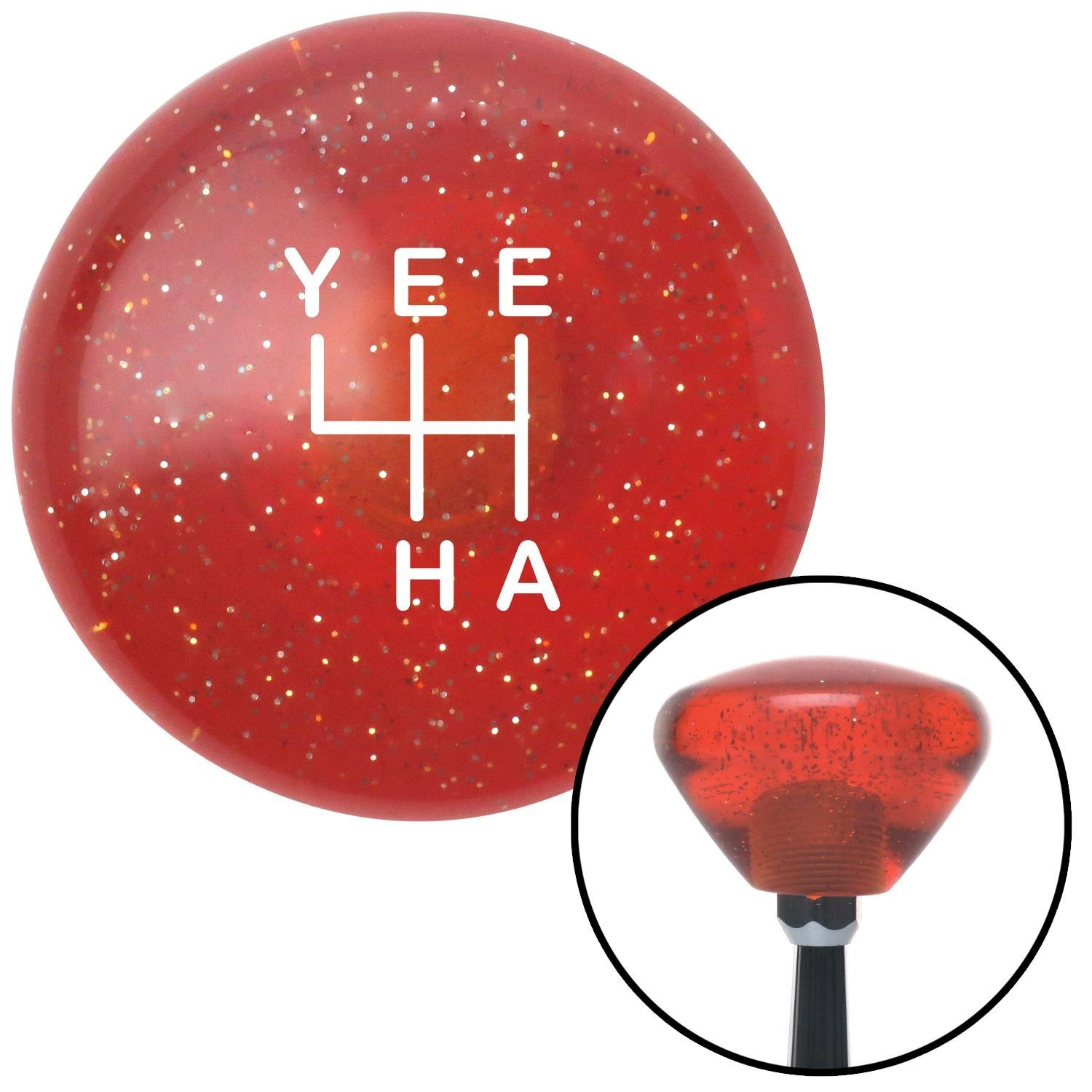 White YeeHa 4 Speed Orange Retro Metal Flake American Shifter 302057 Shift Knob