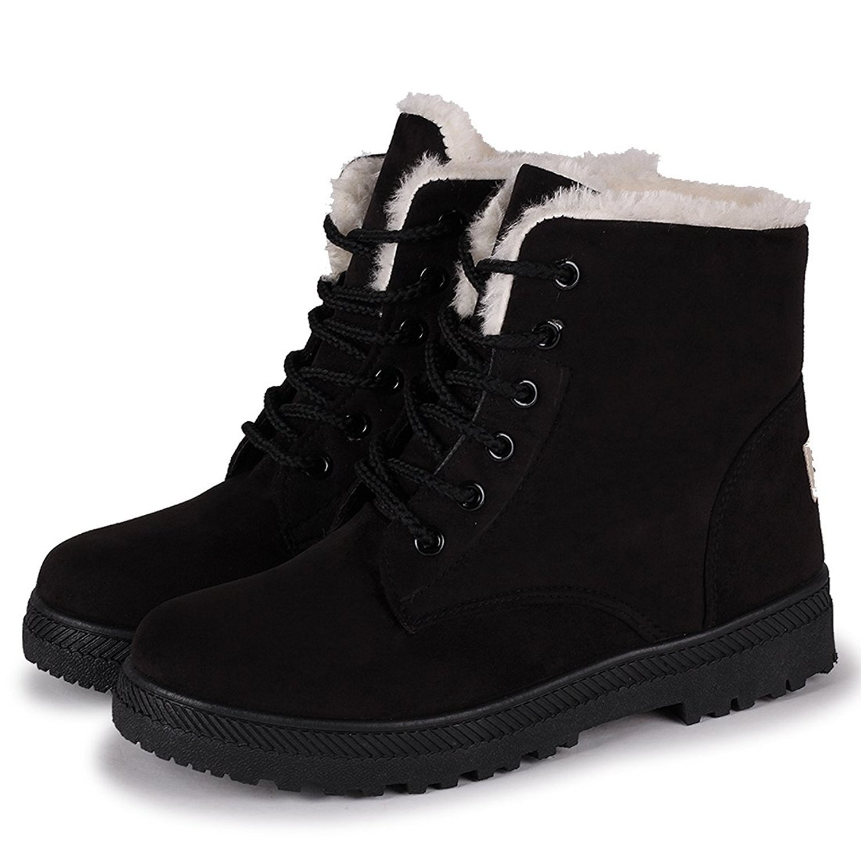 Xipai Women's Winter Suede Flat Platform Snow Boots Lace up Aankle High Combat Boots Black US 11