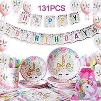 Yidaxing 131 Piezas Decoraciones Cumpleaños Unicornio, Unicorn Party