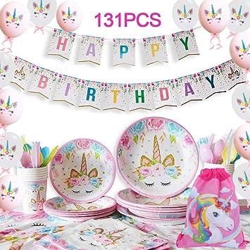 Yidaxing 131 Piezas Decoraciones Cumpleaños Unicornio, Unicorn Party Kit Mantel Cubierta Feliz Cumpleaños Banner Bolsa Globos Unicornio para Niños ...