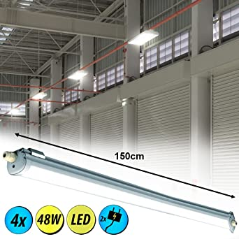 2er Set LED 44 W Wannen Röhren Leuchten Decken Garagen Keller Lampen Tages-Licht